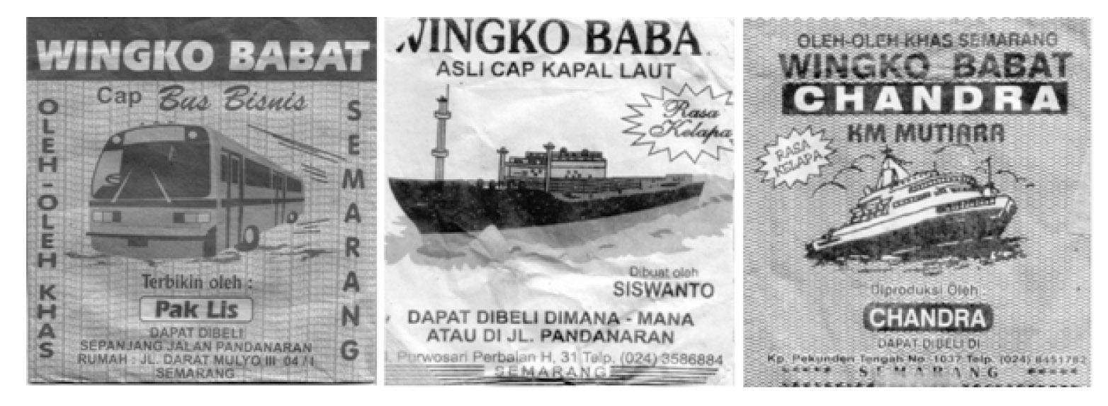Merek-merek kemasan Wingko Babat bernuansa bus, kapal laut. (Sumber: Afnita, 2010:126)