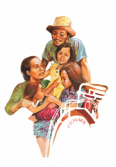 Ilustrasi Keluarga Cemara, Wedha Abdul Rasyid, majalah remaja Hai. Gaya menggambar Wedha sebelum menemukan gaya Wedha's Pop Art Portrait (WPAP).