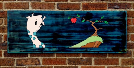 """Tempting: Acrylic and marker on reclaimed wood. 39"""" x 14"""""""