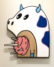 """CottonCandy Cow: Large wall hanging. Acrylic and wire on reclaimed birch ply. 31 1/4"""" x 37 1/2"""". 4.28.14."""