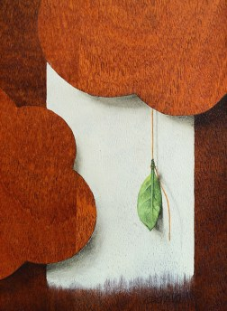 """Absolute: Change"" (detail), Oil paint on mahogany. 13 1/16"" x 13 1/16"". 2.22.16"