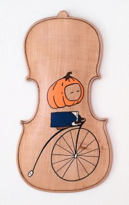"""The Headless Highwheeler"", acrylic and marker on reclaimed maple violin back."