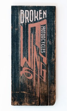 """Broken Wing Motorcycles"": Acrylic on reclaimed barn siding. 14″ 30 3/4″. 12.9.13."