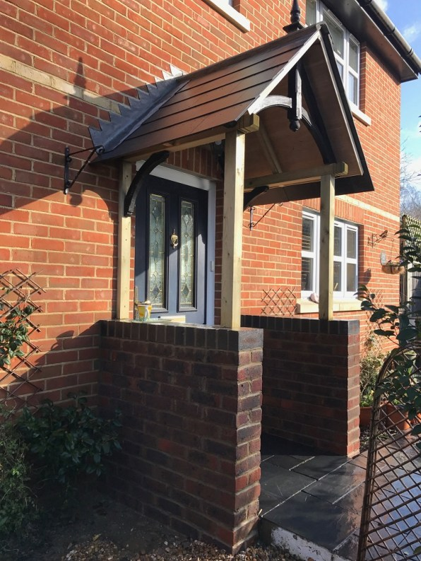 Landscaping in Wokingham. Porch extended.
