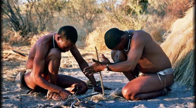 San people starting a friction fire