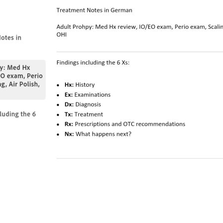 Dental Hygiene Treatment Notes German