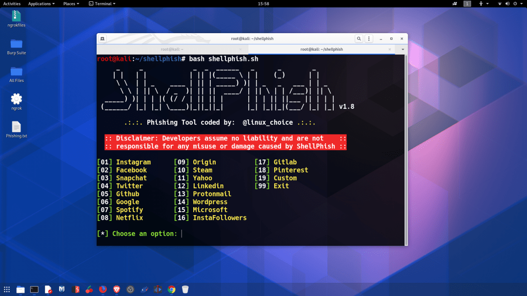 Phishing attack with shellphish