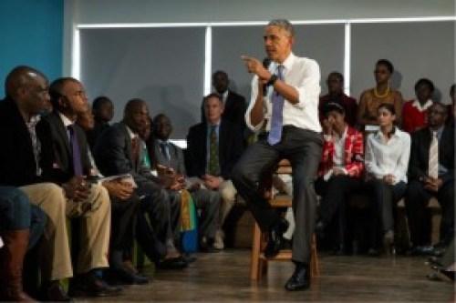 President Obama addressing members of the civil society at the YALI Regional Center at Kenyatta University. Photo courtesy of www.amipnewsonline.org