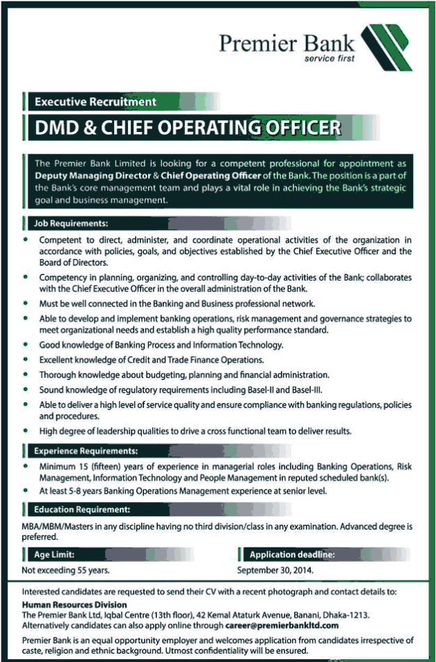 Premier Bank Job: DMD and Chief Operating Officer