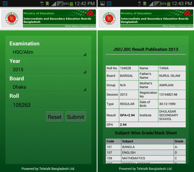 HSC Result 2015 on android app