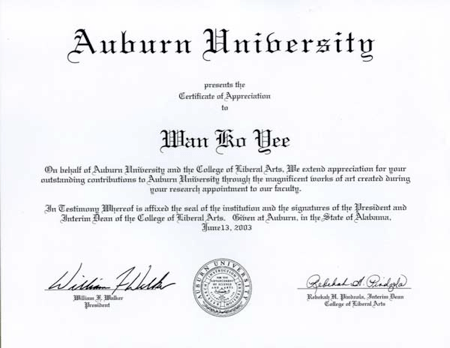 Certificate of Appreciation issued by Auburn University to honor H.H. Dorje Chang Buddha III while His Holiness the Buddha was a professor at the university
