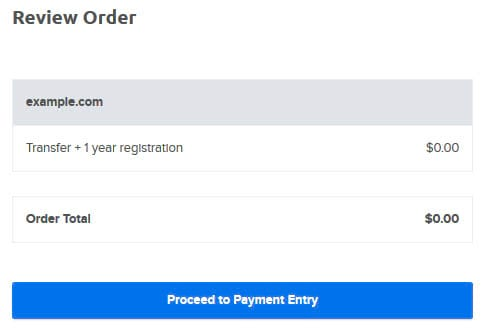 Reviewing order total for example.com 'Transfer + 1 year registration'