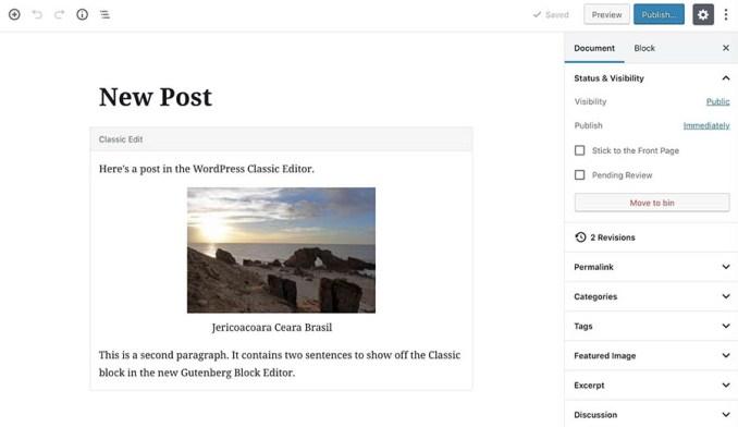 A Classic block in the WordPress Block Editor.