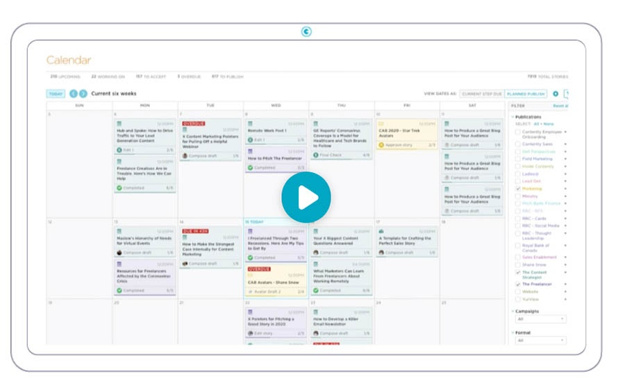 Example of Contently Editorial Calendar.