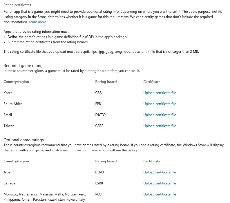 Getting A Game Rating Certificate For Windows Store And Windows