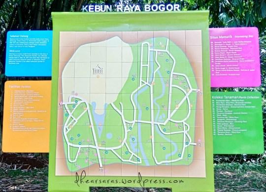 Hampir di semua pintu masuk ada peta Kebun Raya yang penting banget buat difoto, karena Kebun Raya Bogor itu luas luar biasa, jadi kalau orangnya buta arah semacam saya ini bisa nyasar muter2 seharian.