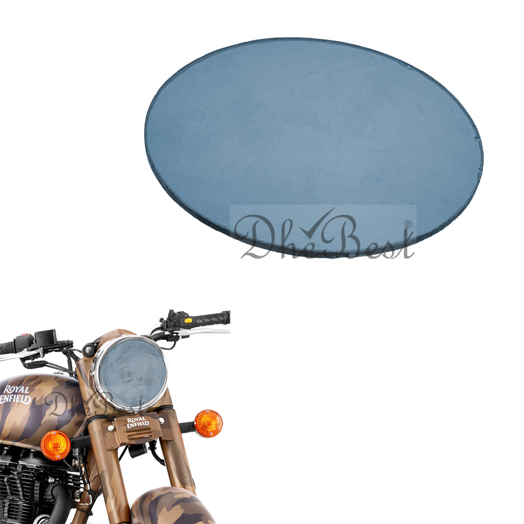 DheBest Bike Headlight Replacement Flat Glass for Royal Enfield (Blue)
