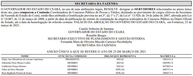 Sefaz CE: Nova COMISSÃO FORMADA; Edital nos próximos dias!