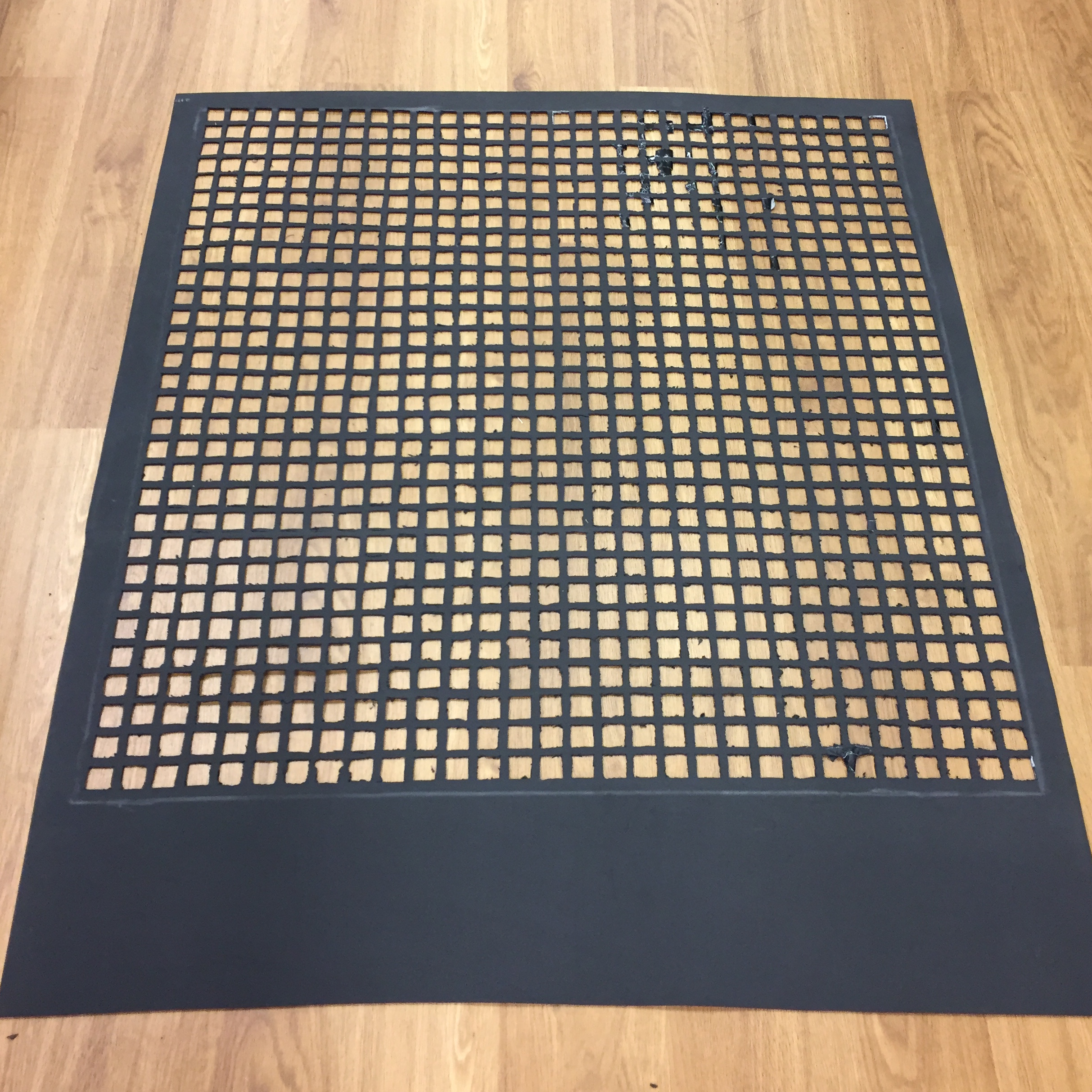 One meter by one meter with 30 by 30 grid made of about 1 inch holes