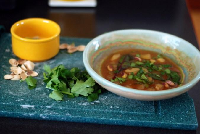 green soup on cutting board 2