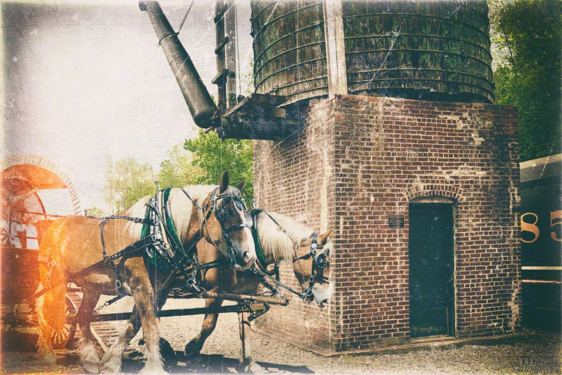 horses, carriage, train, watertower
