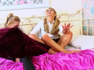 Schoolgirl Barefoot Tickle Carnage!!! Uniform girls go crazy!