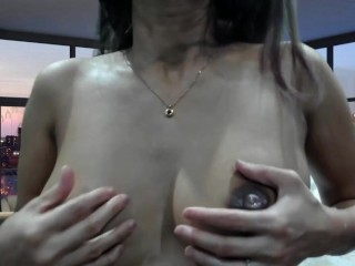 MILF 2nd Pregnancy 1st drops of MILK from oiled up boobs lactating just a little More to cumm soon