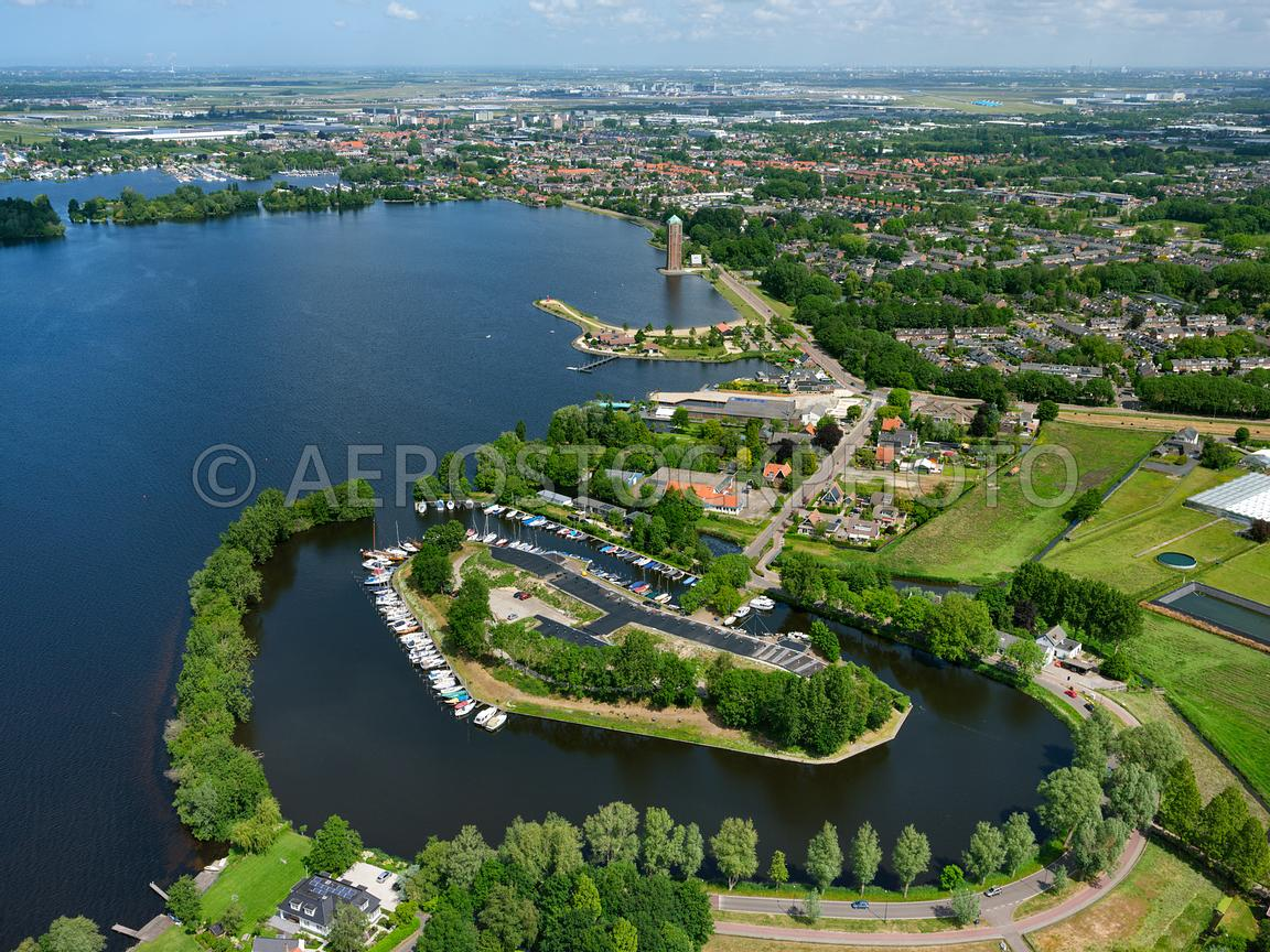 aerial view | Aalsmeer, Vrouwentroost, fort near Kudelstaart is a fortress  of the Defence Line of Amsterdam | 306290