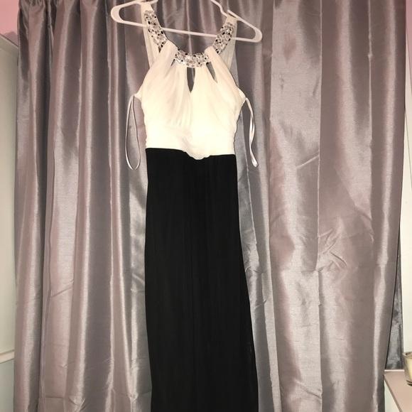 macy s black and white prom dress
