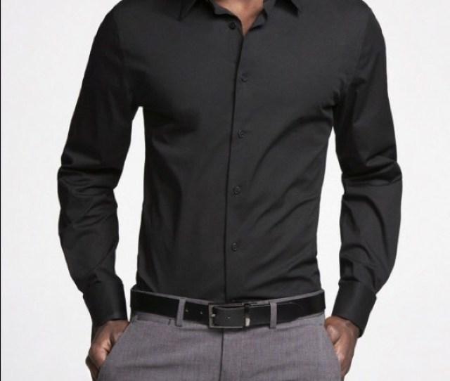 Mens Express Slim Black Dress Shirt Large