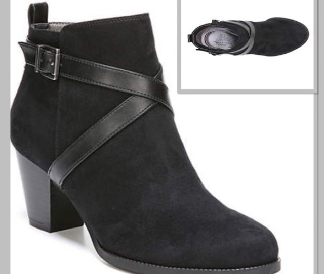 Black Booty Ankle Boots Heels Thick Heel Size