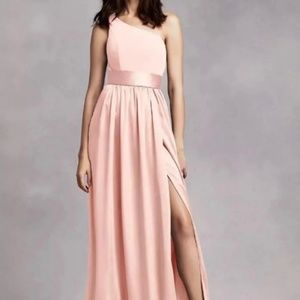 Vera Wang Dresses   One Shoulder Dress With Satin Sash Vw360215     ONE SHOULDER DRESS WITH SATIN SASH VW360215