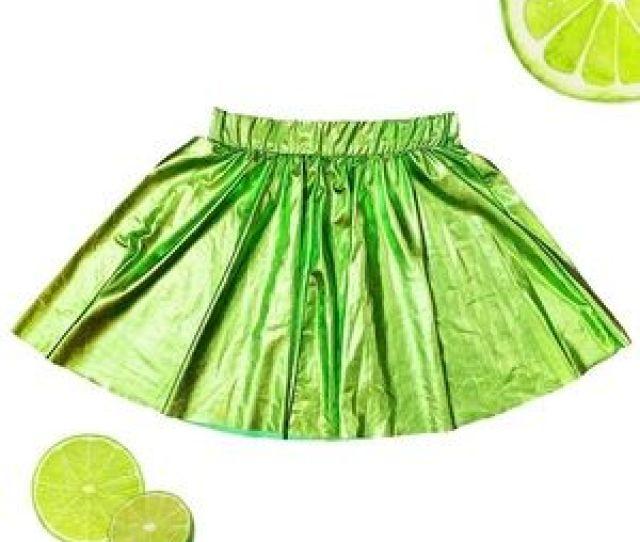 Dresses Skirts Lime Green Metallic Circle Skirt