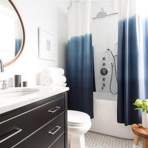 cb2 navy ombre shower curtain