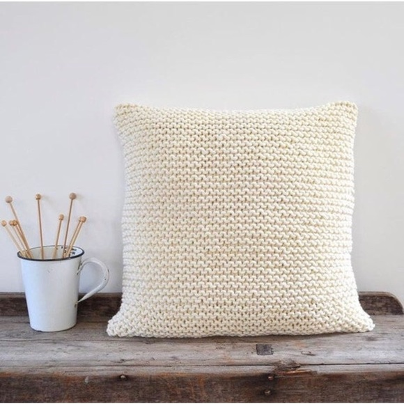 cream knit pillow square chunky knitted throw