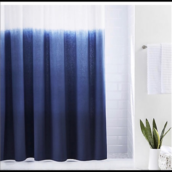cb2 shower curtain blue ombre