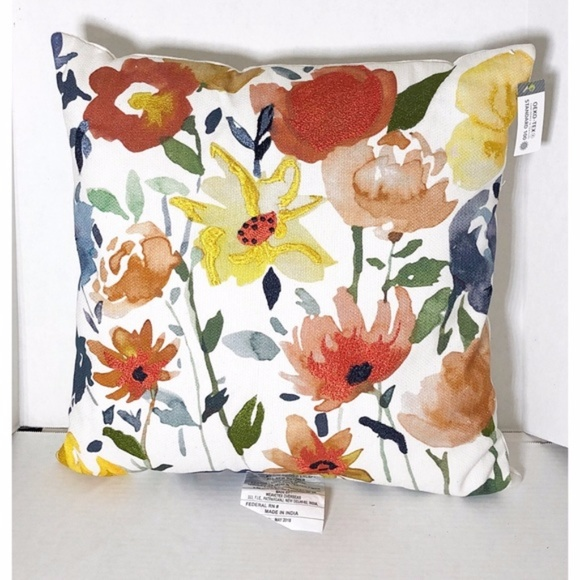 throw pillow floral embroidered by threshold new