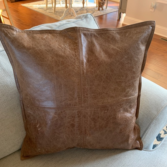 pottery barn leather pillow cover 20 whiskey