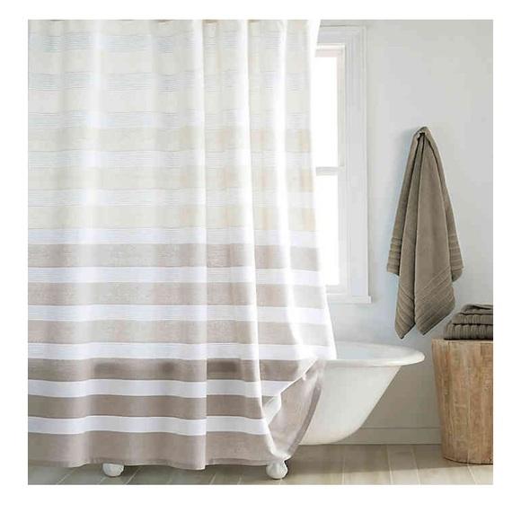nwt dkny shower curtain highline stripe taupe