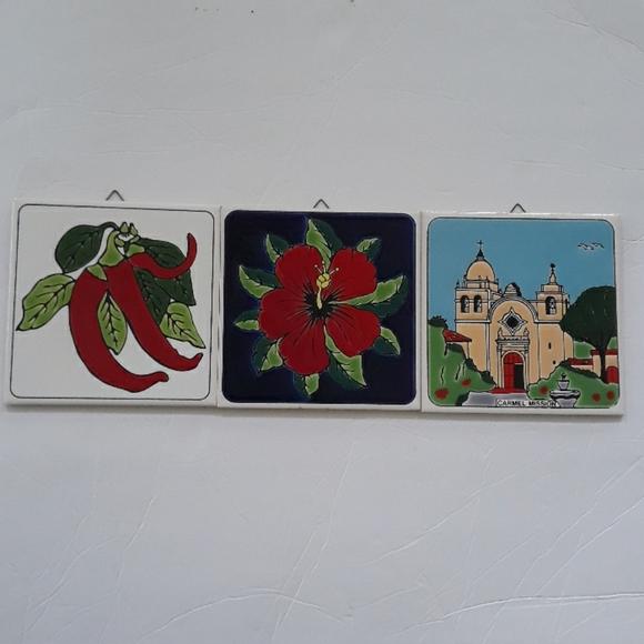 3 decorative art ceramic tile wall hanging tile
