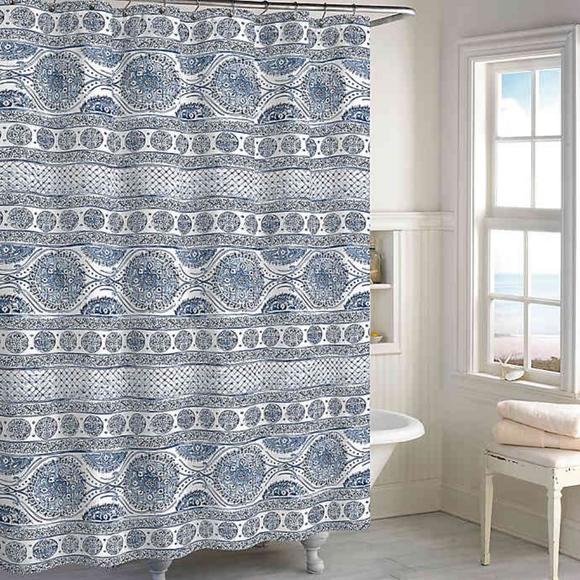 peri home medallion shower curtain in blue