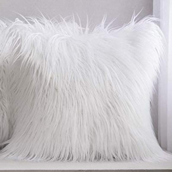 white fuzzy pillows online