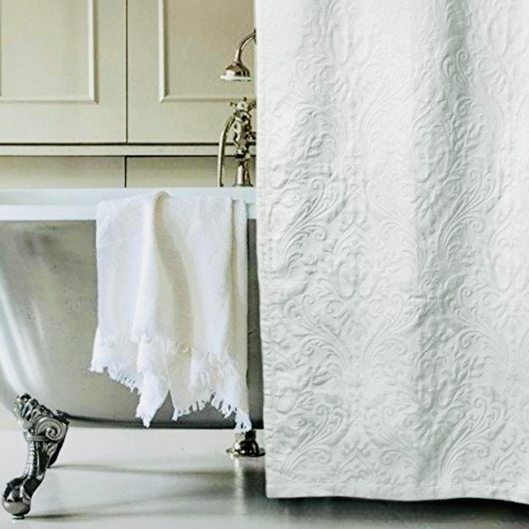 hotel collection jacquard white shower curtain