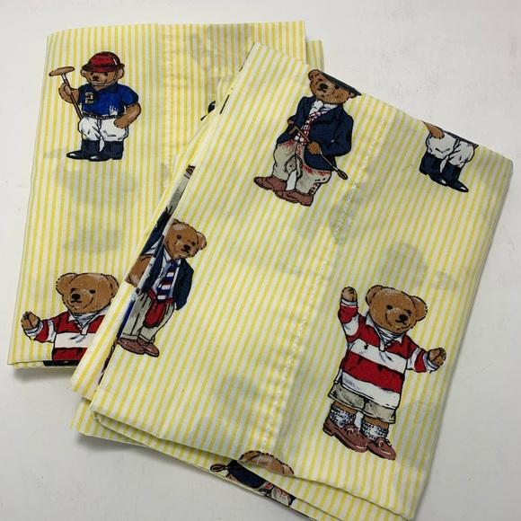 rl polo teddy bear yellow stripe pillow cases