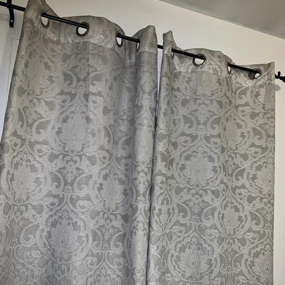 3 15 last set gray damask curtain panels euc