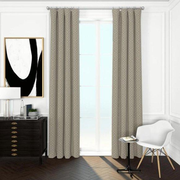 moroccan trellis curtains set of 3 panels khaki