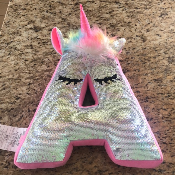 justice unicorn letter a pillow