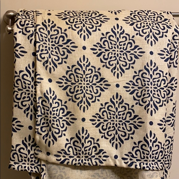dainty home navy and tan colored shower curtain