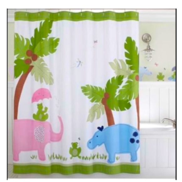 pbk hippo elephant and frog shower curtain