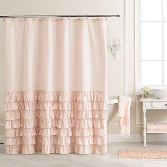 lauren conrad pink ruffle shower curtain